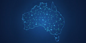 A neon-like graphic of a map of Australia